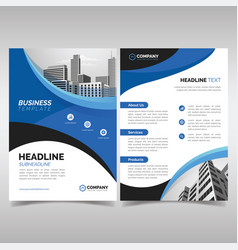 business flyer template with wavy blue shapes vector image