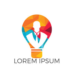 businessman standing inside a light bulb logo vector image