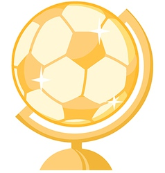 Cartoon globe with soccer ball vector image