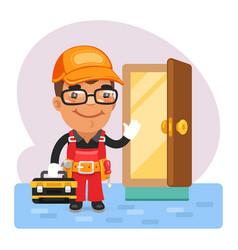 cartoon locksmith opened door vector image
