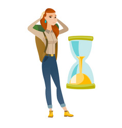 caucasian traveler woman looking at hourglass vector image