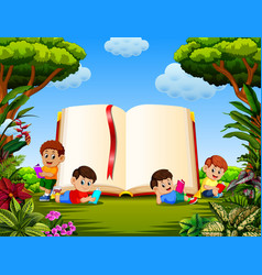 Children reading the book vector