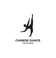 chinese dancing silhouette logo vector image