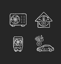 climate control chalk white icons set on black vector image