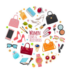 collection of fashion accessories women things vector image