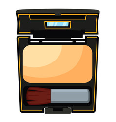 Colorful cartoon compact face powder with brush vector