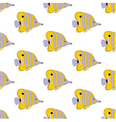 copperbanded butterflyfish seamless pattern vector image