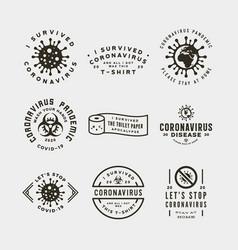 Coronavirus pandemic badges health and medical vector