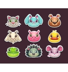 Cute cartoon animal face icons set vector image