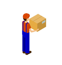 Delivery service man with paper box back vector