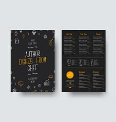 design a4 size a black menu for a restaurant vector image