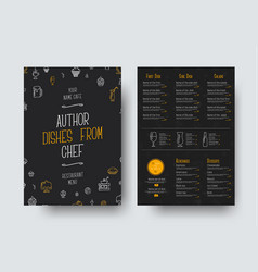 design a4 size of a black menu for a restaurant vector image