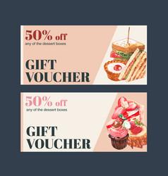 Dessert voucher design with sandwich tart vector