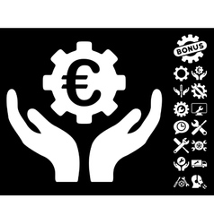 Euro Maintenance Hands Icon with Tools vector