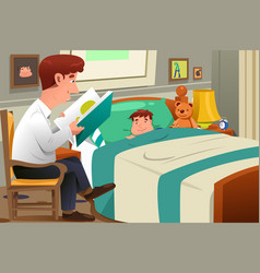 Father reading story vector