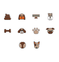 Flat color dog icon set vector
