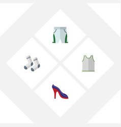 flat icon clothes set of trunks cloth foot vector image