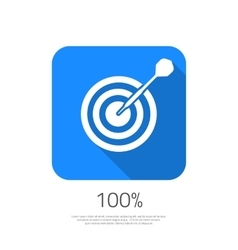 Flat Target 100 Hit the Goal Icon with Long vector image
