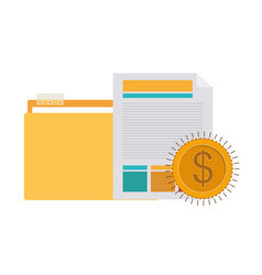 Folder with office objects on white background vector