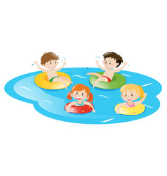 Four kids swimming in pool vector