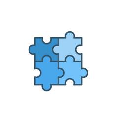 Four puzzle pieces concept blue icon vector