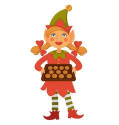 Girl elf in cone hat holds tray full of cookies vector
