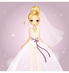 Girl In Princess Wedding Dress vector