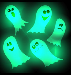 Glow in dark ghost at feast hallowine on vector