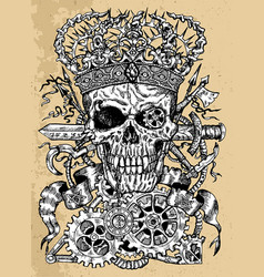 grunge scary skull wearing crown with sword vector image