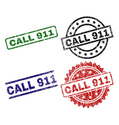 Grunge textured call 911 stamp seals vector