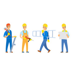 Handymen and workers with tools for work vector