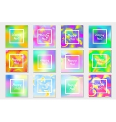 Happy Holi festival in India set greeting card vector