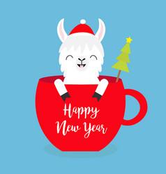 Happy new year llama alpaca sitting in red coffee vector