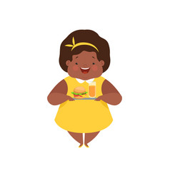 Happy overweight african american girl with junk vector