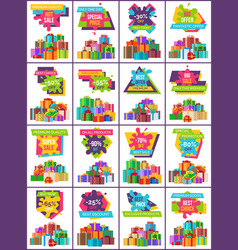 Heaps of present boxes on posters of big sale vector