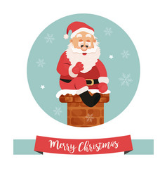 holiday card with santa going down to chimney vector image