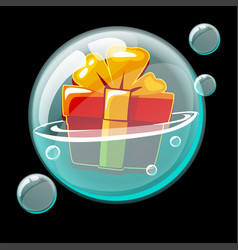 Icon box with a gift bow in a soap bubble vector