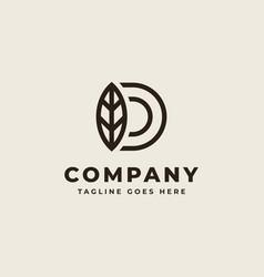 initial d with leaf monogram logo design vector image