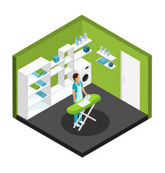 isometric professional cleaning service template vector image