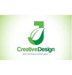 j green leaf letter design logo eco bio leaf vector image