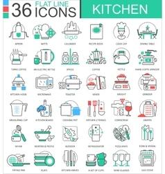 kitchen color flat line outline icons vector image