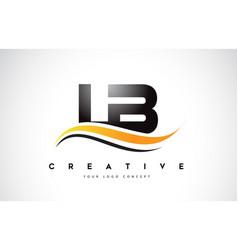 Lb l b swoosh letter logo design with modern vector