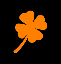 Leaf clover sign orange icon on black background vector