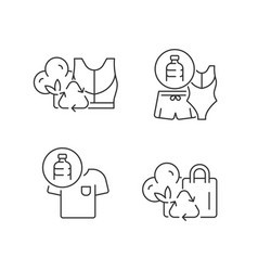 Lessening impact on environment linear icons set vector