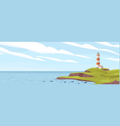 lighthouse on seashore flat vector image