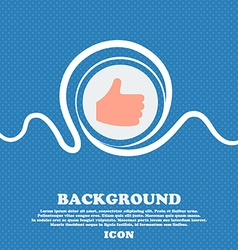 Like Thumb up sign icon Blue and white abstract vector image