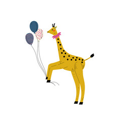 lovely giraffe holding colorful balloons cute vector image