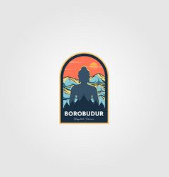 magnificent borobudur temple logo wonderful vector image