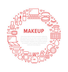 Makeup beauty care red circle poster with flat vector