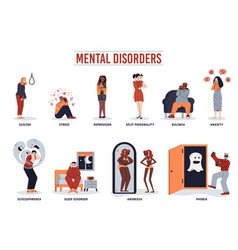 Mental disorder set - cartoon people with vector